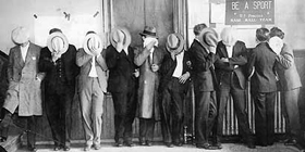The Purple Gang hiding their faces