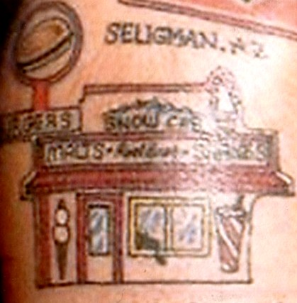 The Snow Cap Drive-In in Seligman, Arizona is one of Ron's favorite tattoos.