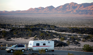 Boondocking at Amboy Crater, California, February 2015