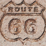 Route 66 Shield in the Painted Desert.