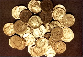 Mercury Dimes found at Optimist Park in Huntsville, Alabama. Photo courtesy Metal Detecting In The USA.com
