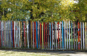 A fence made of skis in Leadville, Colorado