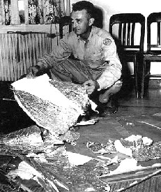 Major Marcel holding material from the Roswell Incident?