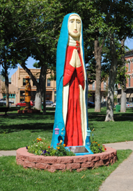 Our Lady of Sorrows Statue in the Las Vegas, New Mexico Plaza.