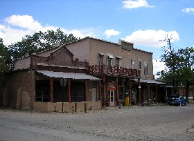 The old Simoni Store and Wortley Hotel on Front Street in Los Cerrillos, New Mexico