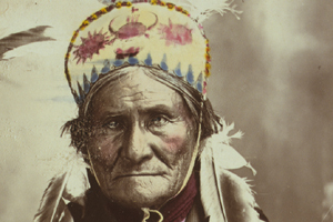 Vintage Geronimo photo prior to restoration.