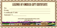 Legends of America Gift Certificate