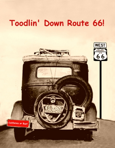 Toodlin Down 66 Postcard in Legends' General Store
