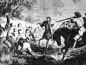 Jayhawkers and Bushwackers fight it out over Kansas becoming a free state or a pro-slavery state.