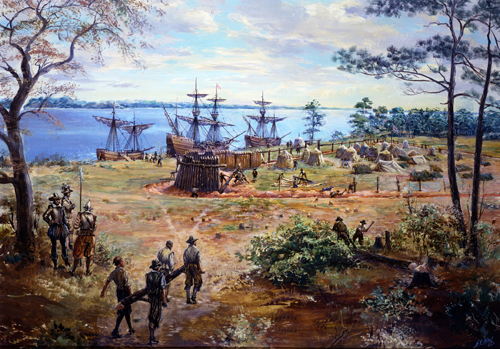 fort at Jamestown, in May 1607. Painting by Sidney E. King,