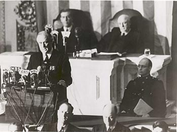 FDR delivers infamy speech to Congress, December 8, 1941