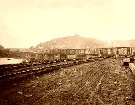 Harper's Ferry, West Virginia - view of the town and railroad bridge