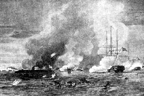 The Monitor and the Merimac, Civil War ships