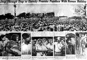 Coverage of Rainey Bethea's hanging from the New York Daily News, August 1936.