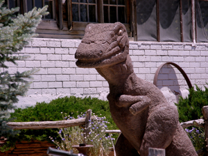 A dinosaur welcomes guests to the Grand Canyon Caverns Inn, photo by Judy Hinkley.