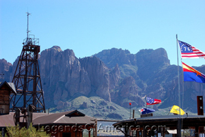 The Superstition Mountains in the background of Goldfield, AZ