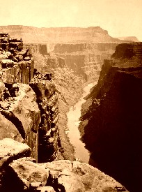 The Colorado River at the base of the Grand Canyon, 1872.