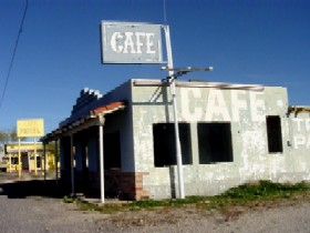 Abandoned cafes and a motel in Yucca, Arizona