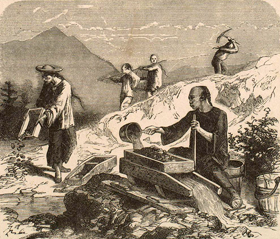 Chinese miners in Calfiornia, mid 1800's.