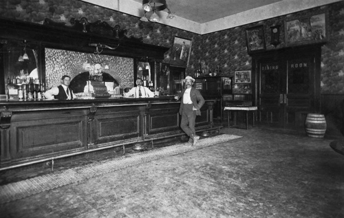 Saloon inside the Hotel Vallencia, Anaheim, California, 1916.