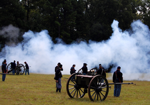 Civil War re-enactors at the Chickmauga Battlefield in Georgia