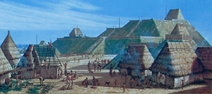 Artist's rendition of Cahokia Mounds, photo from Cahokia Mounds State Historic Site