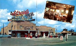 Streid's famous gas station, restaurant, cocktail lounge and 32 Unit Motel in Bloomington, Illinois.