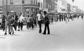 Protest march on Commercial Avenue, July, 1970