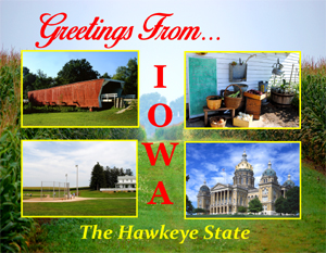 Greetings From Iowa Postcard - custom design by Legends of America