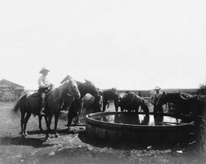 Cowboys at water tank in Dodge City, Kansas.