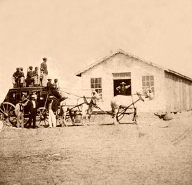 The Overland Stage in Hays City, Kansas, 1867.