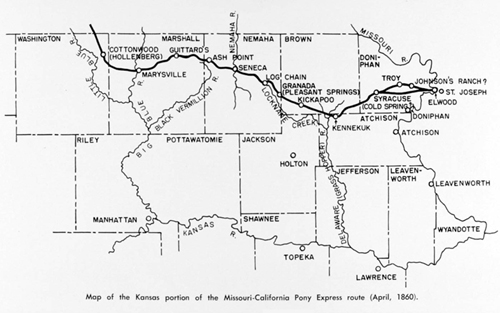 Kansas Pony Express Map