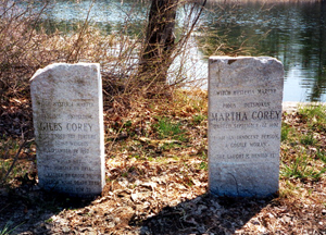 Giles and Martha Corey's graves sit near their original homestead by Crystal Lake in west Peabody.