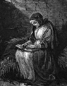 Susannah Martin reading her bible in jail
