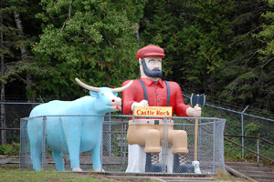 Paul Bunyan and the Blue Ox near St. Ignace, Michigan.