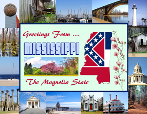 Custom Mississippi Postcard designed by Legends of America