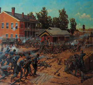 The Union Army taking control of the railroad crossing during the Siege of Corinth.