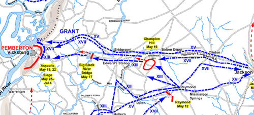 Troop movements of the Vicksburg Campaign.