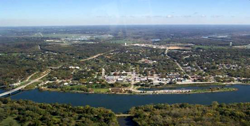 Aerial view of Warsaw, Missouri