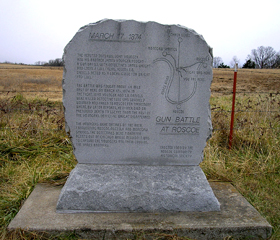 Battle marker near Roscoe, Missouri