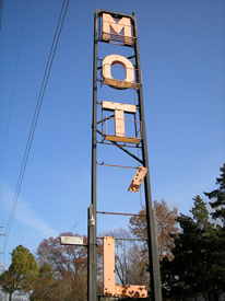Old motel sign in Pacific, Missouri