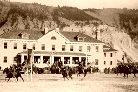 Mounted Cavalry Drill on parade ground at Fort Yellowstone