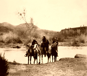 Apache at the ford, Edward S. Curtis 1903