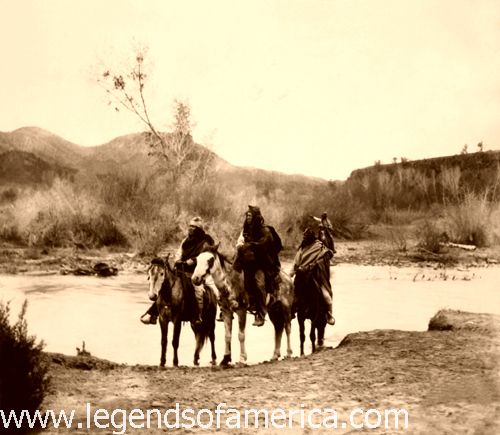 Apache Indians at the Ford by Edward S. Curtis, 1903