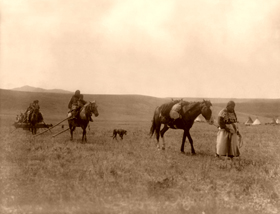 A Gros Ventre family demonstrating horse culture. Edward Curtis, 1908