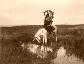 Cheyenne Indian in full feather bonnet.