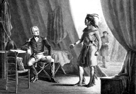 Creek Indian surrenders to Andrew Jackson.