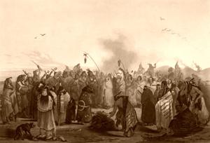 Hidatsa Scalp Dance, Karld Bodmer, 1840.