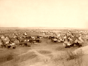 Lakota Sioux Indian Camp in Dakota Territory,