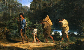 Indians walking along a bayou